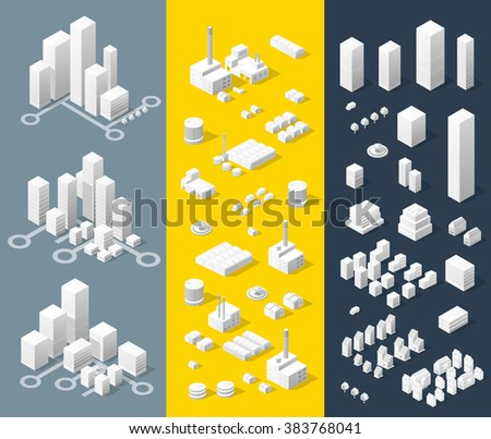 City isometric map, consisting of skyscrapers city street and road in white - stock vector