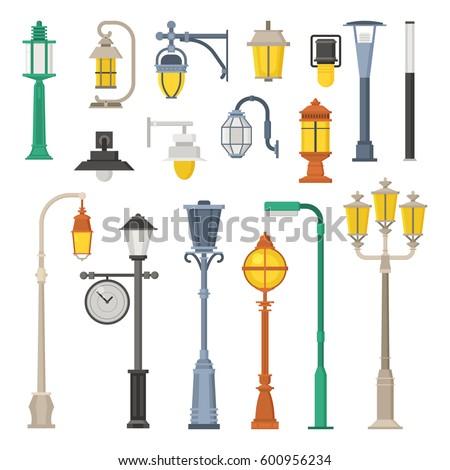 street light design city lampposts lamp poles street lights stock vector 600956234