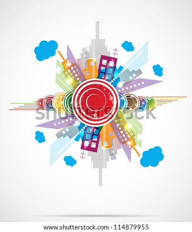 City Landscape abstract real estate vector background - stock vector