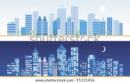 City landscape at day and night. - stock vector