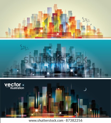 City landscape at daylight, evening and night. - stock vector