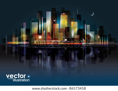 City Landscape at night - stock vector