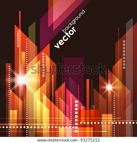 City Landscape at night. - stock vector