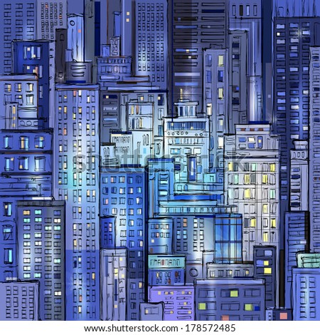 City landscape at night.  Hand drawn vector - stock vector