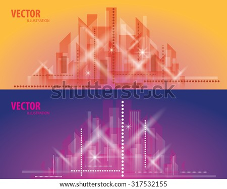 City Landscape. Beautiful abstract background town - stock vector