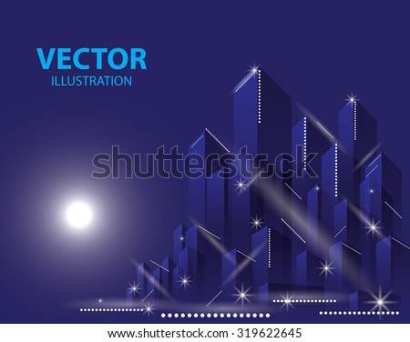 City Landscape. Beautiful abstract background town night - stock vector