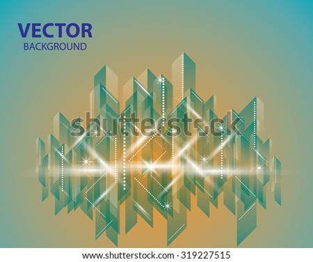 City Landscape. Beautiful abstract orange and teal background town - stock vector