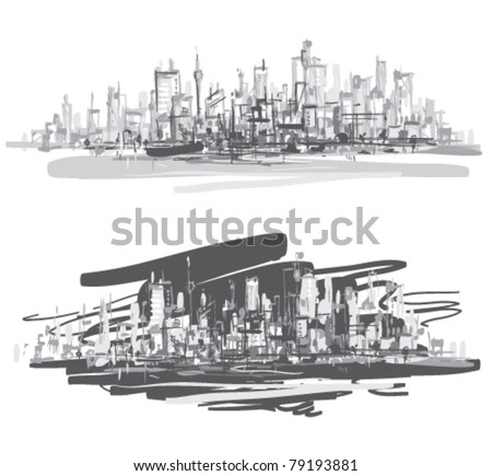 City landscape. Hand-drawn vector illustration. - stock vector