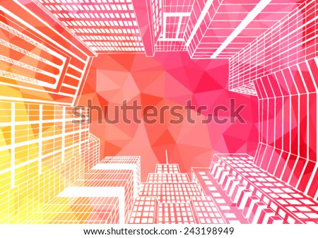 City landscape illustration. Look at the sky through the office building. - stock vector