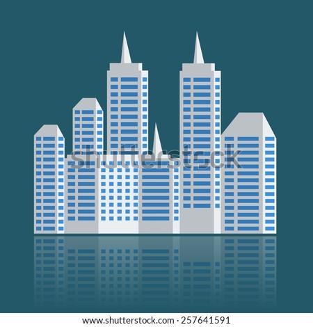 city landscape mock up buildings. vector illustrations  - stock vector
