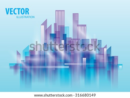 City Landscape morning, abstract background town - stock vector