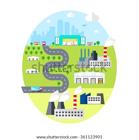 City landscape of Factories, Industry and Town with Transportation. vector distribution concept. - stock vector