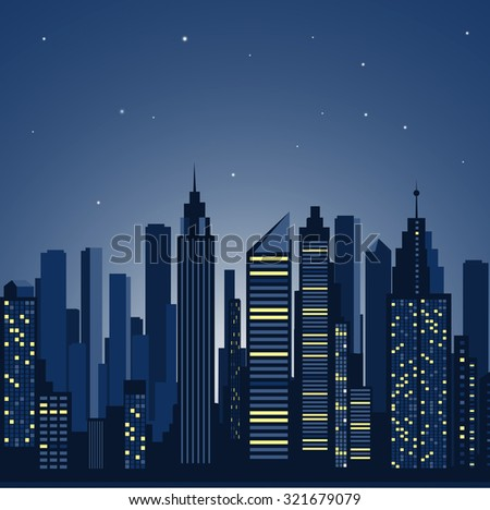 city landscape. panorama of the night city
