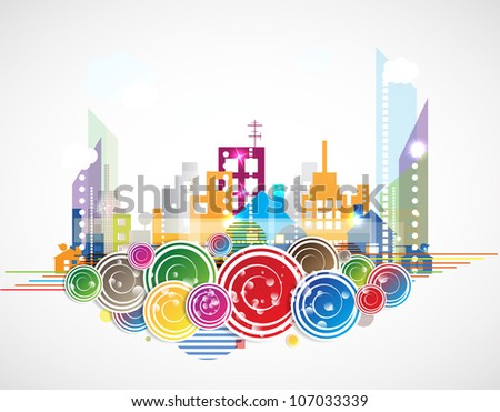 City Landscape real estate vector background - stock vector