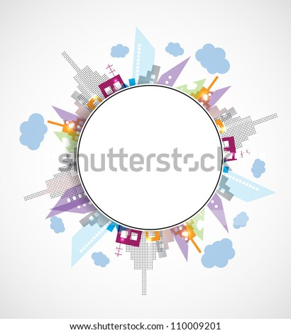 City Landscape rounded abstract real estate background - stock vector