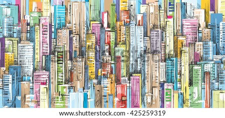 City landscape sketch. Hand drawn illustration - stock vector