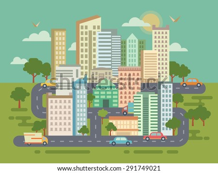 City Landscape with Buildings Cars and Roads concept flat illustration. - stock vector