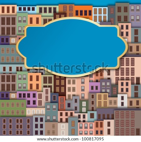 City Landscape with facade of old buildings and place for text - stock vector