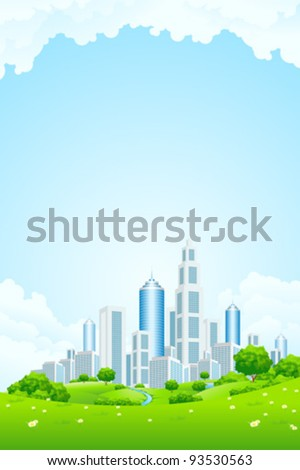 City Landscape with Green Hills River Trees Flowers and Clouds - stock vector