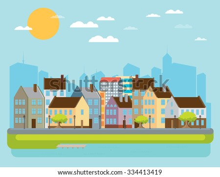 City landscape with sea. Vector illustration - stock vector