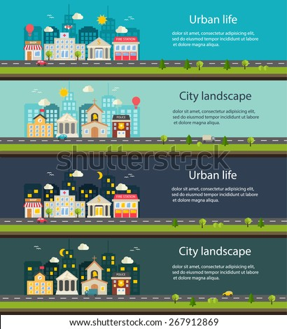 City life and urban landscape banners at day and at night. Background with buildings icons set:  police, fire station, school, church, bank, court house, hospital, shop in modern flat design style - stock vector