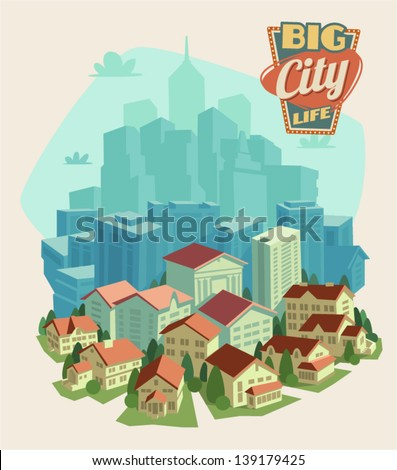 City life background - stock vector
