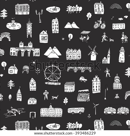 city life houses pattern