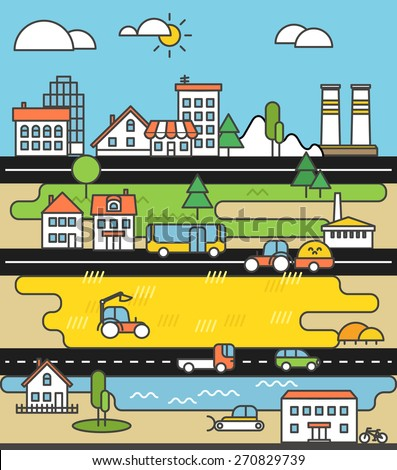 City life minimalism illustration concept - stock vector