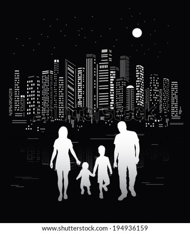 City life. Urban background and family silhouettes. - stock vector