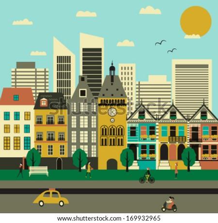 City life. Vector - stock vector