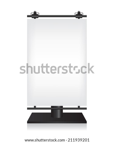 City light black billboard on white background - stock vector