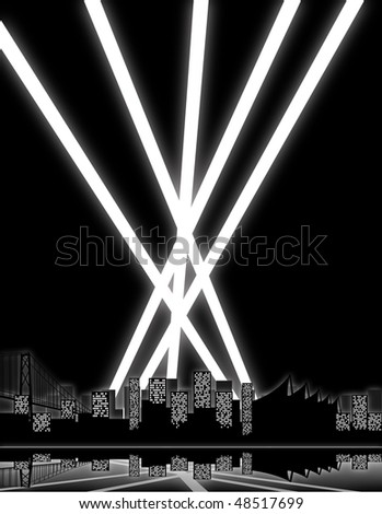 City lights and search lights shooting into the night sky. - stock vector
