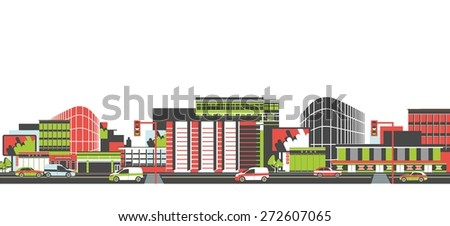 City long street with road and moving vehicles panoramic view  - stock vector