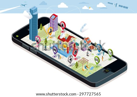City map above a smart-phone. On it screen a vector map of the city, where  appear pins with the location of different service icons, some buildings and people. - stock vector