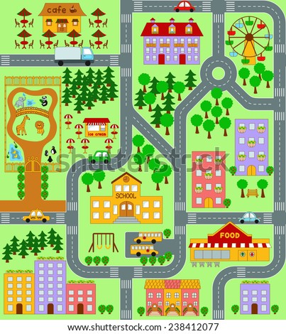 City Map Kids Seamless Vector Pattern Stock Vector - Town map for kids