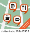 City map icon food and drink pointers - stock vector