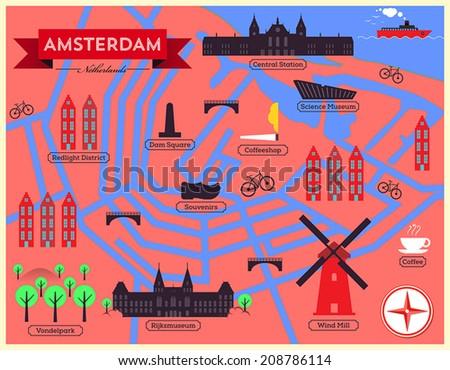 City Map Illustration Amsterdam Landmarks Vector Stock Vector 2018