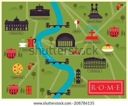 Rome Map Stock Images RoyaltyFree Images Vectors Shutterstock - Rome map cartoon