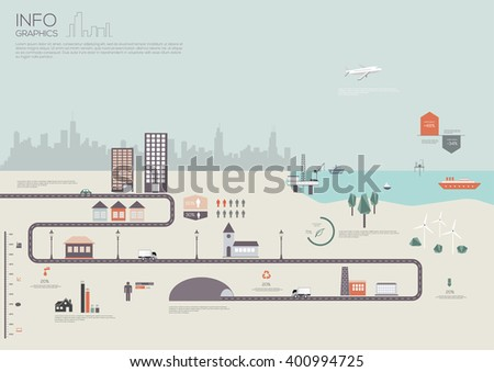 City map infographic. Vector illustration - stock vector