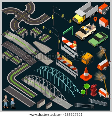City Map Kit isometric vector. make your custom Township, Village or Country. - stock vector