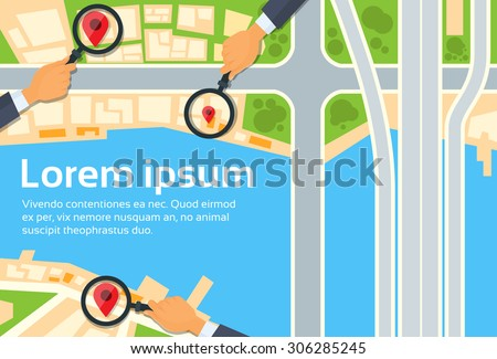 City Map Navigation Search Hand Magnifying Glass Street With Pins Icons Flat Vector Illustration - stock vector