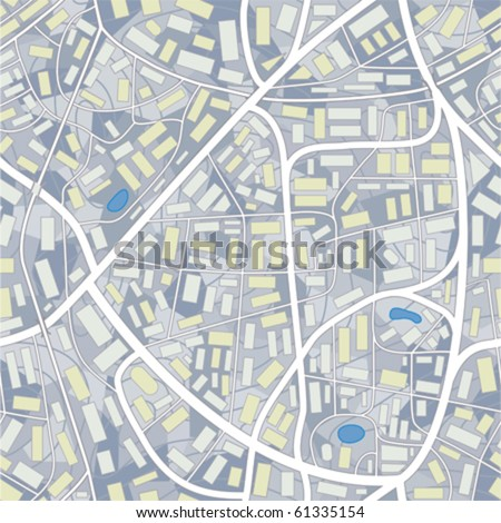 city map seamless pattern of a invented city without names - stock vector