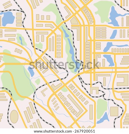 City map seamless pattern. Vector illustration - stock vector