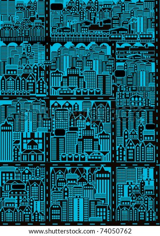 City map with buildings and roads - stock vector
