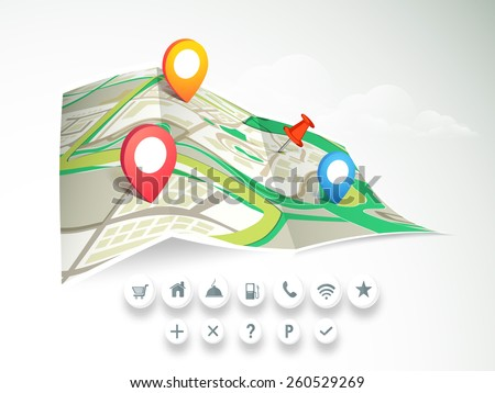 City map with colorful 3D pointers and navigation icons on cloudy background. - stock vector