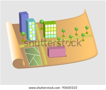 City map with different houses, vector - stock vector
