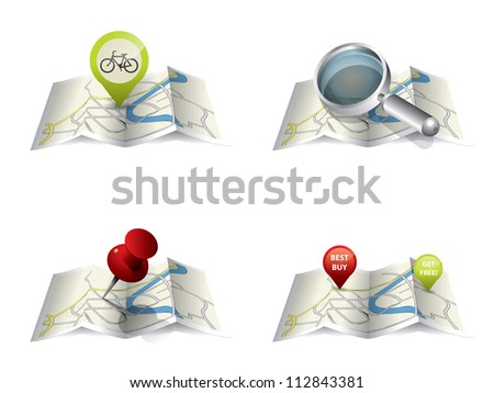 City map with GPS Icons and route - stock vector