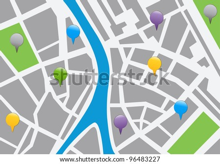 city map with labels. vector icon illustration - stock vector