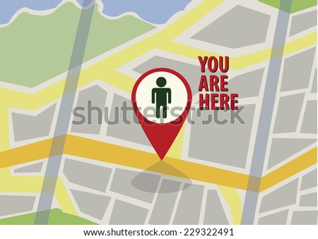 city map with marker. vector illustration - stock vector