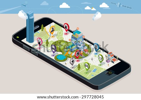 City Map with Pins and an Intelligent House. Smart-phone. On it screen a vector map of the city, where  appear pins with the location of different service icons and an intelligent residential building - stock vector